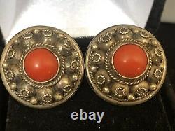 Vintage Estate Sterling Silver Red Salmon Coral Earrings Screw Back