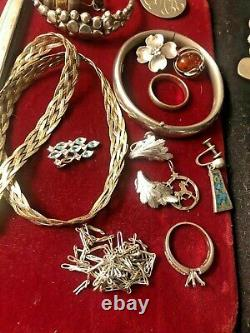Vintage Estate Sterling Silver Scrape Bag Earrings Bracelets Necklace As Is 165g