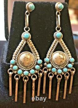 Vintage Estate Sterling Silver Turquoise Earrings Drop Dangle Sleeping Beauty