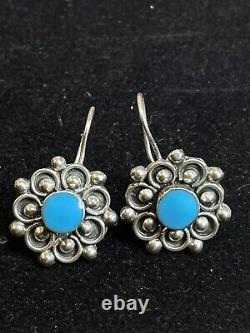 Vintage Estate Sterling Silver Turquoise Earrings Made In Mexico Drop