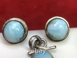 Vintage Estate Sterling Silvr Larimar Earrings Studs & Pendant Gemstone