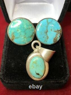 Vintage Estate Sterling Turquoise Pendant Signed Ati Earrings Southwest Mexico