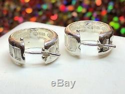 Vintage Estate Tiffany & Co Sterling Silver Earrings Atlas 1995 Hoop Huggie