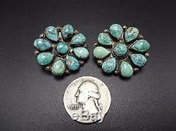 Vintage FEDERICO JIMENEZ Sterling Silver #8 TURQUOISE Cluster EARRINGS Clip-On