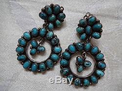 Vintage FEDERICO JIMENEZ Sterling Silver & TURQUOISE Cluster EARRINGS Clip-On
