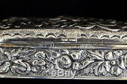 Vintage Fine Heavy Repousse Sterling Silver Stamp Box Earring Box 75.3 g