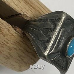 Vintage Fred Harvey Era Sterling Sleeping Beauty Thunderbird Ring Size 9