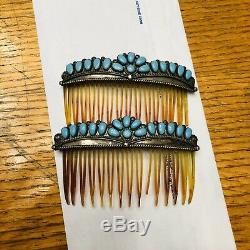 Vintage Fred Harvey Era Sterling Turquoise Hair Barrette Estate Fine Navajo