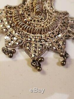 Vintage Frida Style Mexican 925 Sterling Silver Filigree Earrings 29 grams