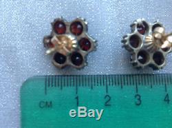 Vintage Garnet Bohemian rose cut garnet 14K posts & garnets in sterling silver