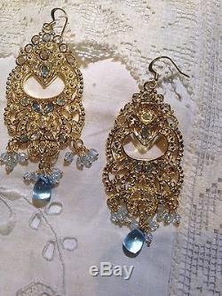 Vintage Genuine Aquamarine Gold Finished 925 Sterling Silver Filigree Earrings