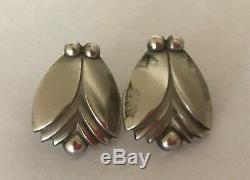 Vintage Georg Jensen Art Deco Stylized Flower Bud Earrings 925 Sterling Pierced