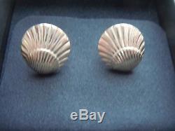 Vintage Georg Jensen Classic Shell Style Sterling Silver #107 Pierced Earrings