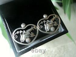 Vintage Georg Jensen Danish Sterling Silver Dolphin Earrings no. 101 Clip On