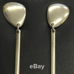 Vintage Georg Jensen Pebble Design No. 445 Sterling Silver Drop Earrings 5.8cm