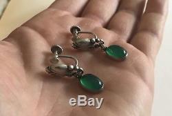 Vintage Georg Jensen Sterling Silver & Green Agate Earrings