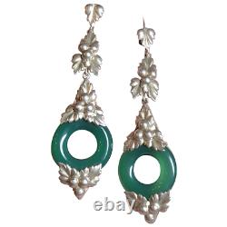 Vintage Germany Art Deco Leaf Berry Sterling Silver Chrysoprase Dangle Earrings