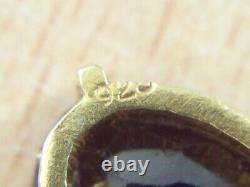 Vintage Gold On Sterling Silver Garnet Earrings 1950
