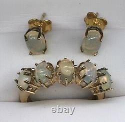Vintage Gold Over Sterling Opal Ring & Matching Earrings