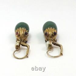 Vintage Gold Vermeil Sterling Jade Baroque Pearl Pink Tourmaline Dangle Earring