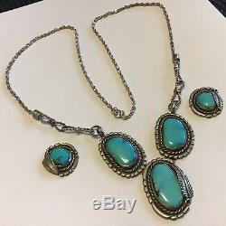 Vintage Good Signed Sterling Silver Navajo Turquoise Necklace Earrings