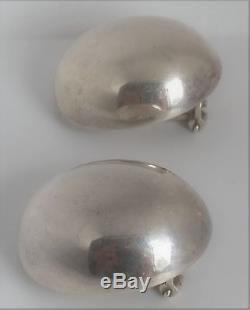 Vintage Gucci 925 Sterling Silver Dome Oval Modernist Omega Clip On Earrings