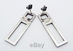 Vintage Gucci Italy Dangle Drop Earrings in Sterling Silver Pierced Ears