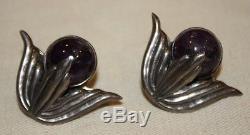 Vintage Hubert Harmon Mexico Sterling Silver & Amethyst Screw-On Earrings