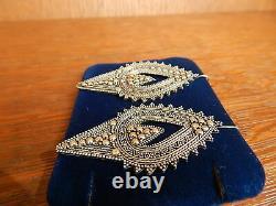 Vintage Indonesia Tribal Sterling Silver Long Pierced Earrings