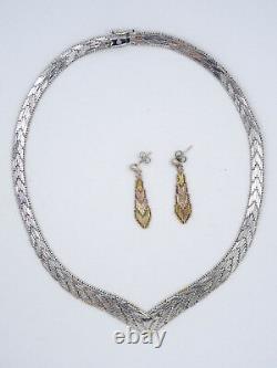 Vintage Italian Sterling Silver Tri-color V Mesh Necklace & Earrings Set