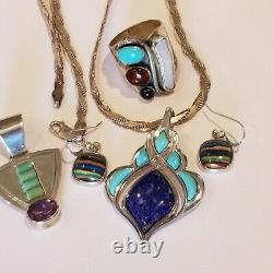Vintage JAY KING DTR 925 Sterling Earrings Ring 2 Turquoise Lapis Amber Necklace