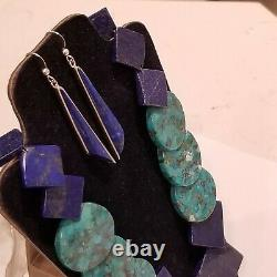 Vintage JAY KING DTR NWT Sterling 925 Earrings Turquoise & Lapis Stones Necklace
