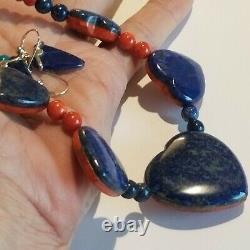 Vintage JAY KING DTR Sterling 925 Reversible Orange Coral Lapis Earring Necklace