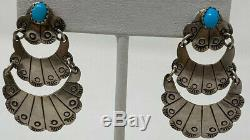 Vintage JB Sterling Silver Turquoise Native American Navajo Dangle Earrings