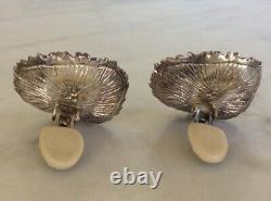 Vintage JEM Sterling Silver Two Tone Clip On Earrings Brutalist Modernist