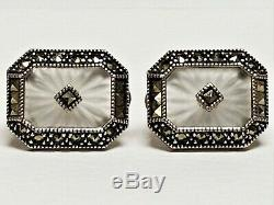 Vintage JUDITH JACK Camphor Glass & Marcasite Sterling Silver PIERCED Earrings