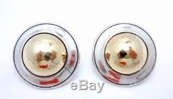 Vintage James Avery 14K Gold Sterling Silver Hammered Dome Large Earrings 23379