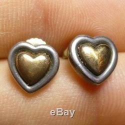 Vintage James Avery Sterling Silver & 14K Gold Heart Earrings