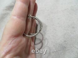 Vintage James Avery Twisted Wire Open Hoops Stud Sterling silver Earrings signed