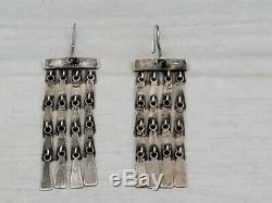 Vintage Jane Diaz Sterling Silver Modern Mobile Dangling Earrings