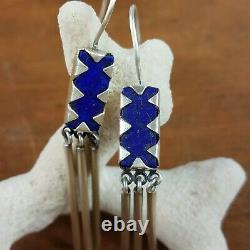 Vintage Jane Diaz Sundance Catalog Lapis Lazuli 925 Sterling Earrings Signed