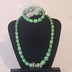 Vintage Jay King DTR Sterling 925 Green Turquoise Earrings Bracelet Necklace