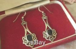 Vintage Jewellery KIT HEATH Sterling Silver Celtic Onyx earrings ear rings