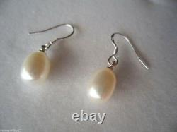 Vintage Jewellery Pearl Earrings Sterling Silver Ear Rings White Pearls Jewelry