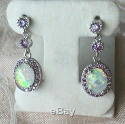 Vintage Jewellery Sterling Silver Earrings Jewelry with Opals Amethyst Ear Rings