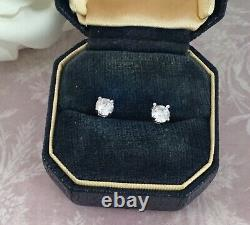 Vintage Jewellery Sterling Silver Earrings White Sapphires Antique Deco Jewelry
