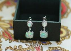 Vintage Jewellery Sterling Silver Opal Earrings Antique Art Deco Dress Jewelry