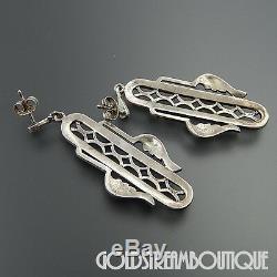 Vintage Jewelry Co. Sterling Silver Marcasite Long Dangle Post Art Deco Earrings