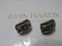 Vintage John Hardy 18K Gold Sterling Silver Jaisalmer Omega & Post Earrings