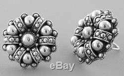 Vintage John Hardy Sterling Silver Ladies Huge Clip On Earrings